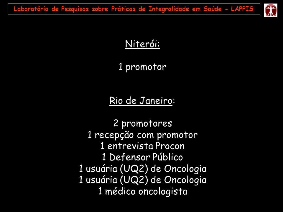 Laboratório de Pesquisas sobre Práticas de Integralidade em Saúde - LAPPIS Niterói: 1 promotor Rio de Janeiro: 2 promotores 1 recepção com promotor 1