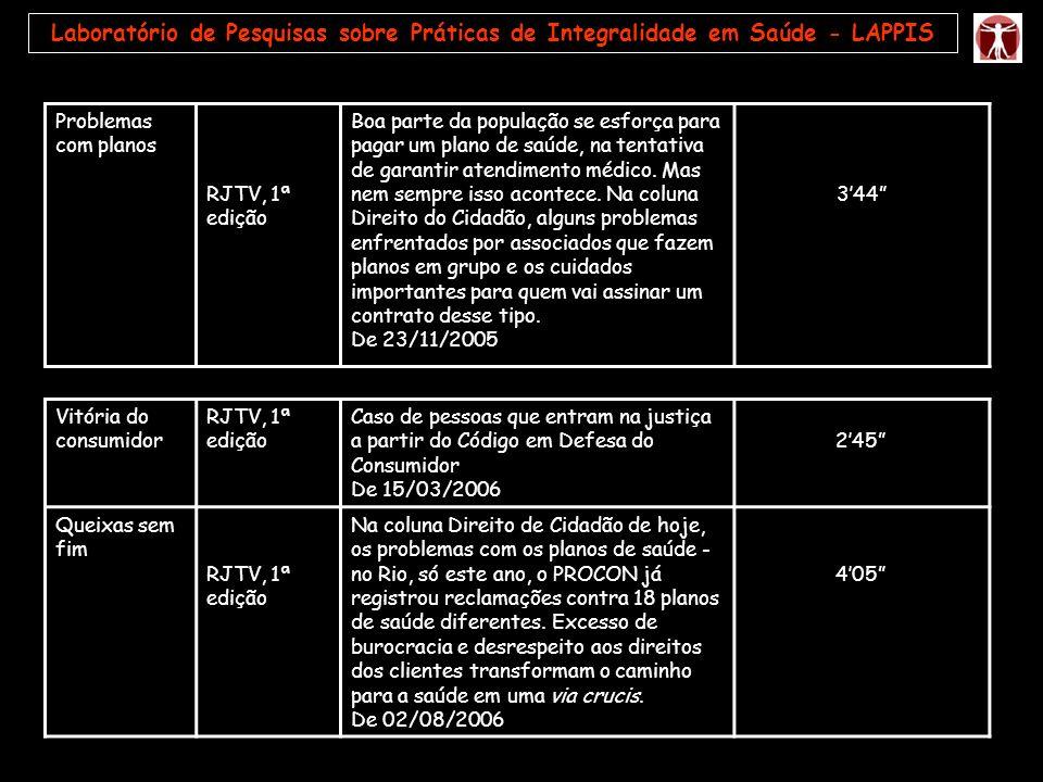 Laboratório de Pesquisas sobre Práticas de Integralidade em Saúde - LAPPIS Problemas com planos RJTV, 1ª edição Boa parte da população se esforça para