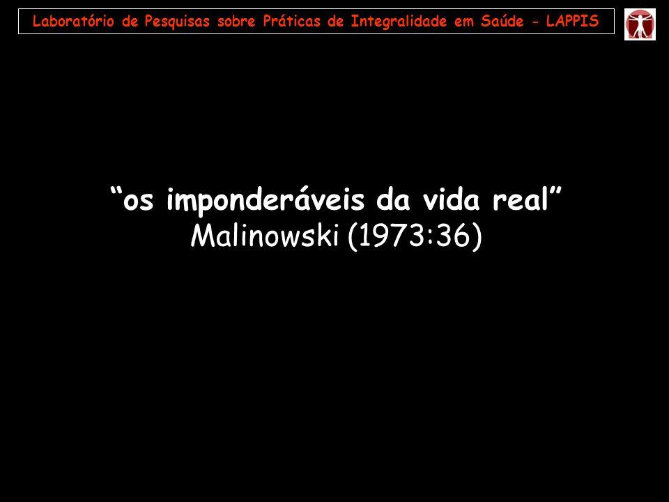 Laboratório de Pesquisas sobre Práticas de Integralidade em Saúde - LAPPIS os imponderáveis da vida real Malinowski (1973:36)
