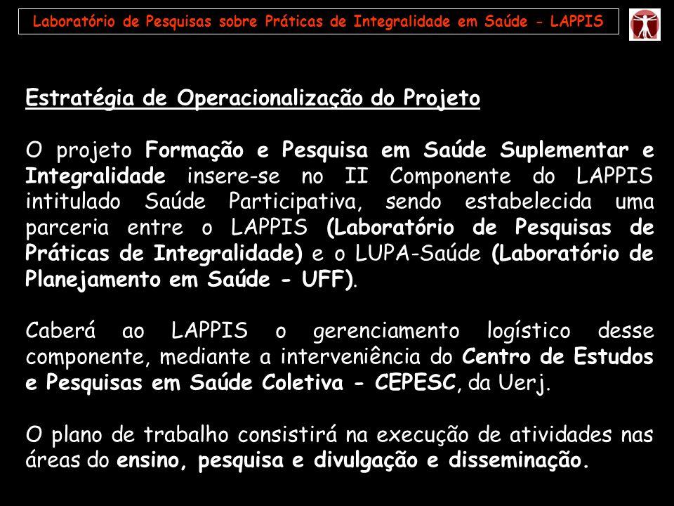 Estratégia de Operacionalização do Projeto O projeto Formação e Pesquisa em Saúde Suplementar e Integralidade insere-se no II Componente do LAPPIS int