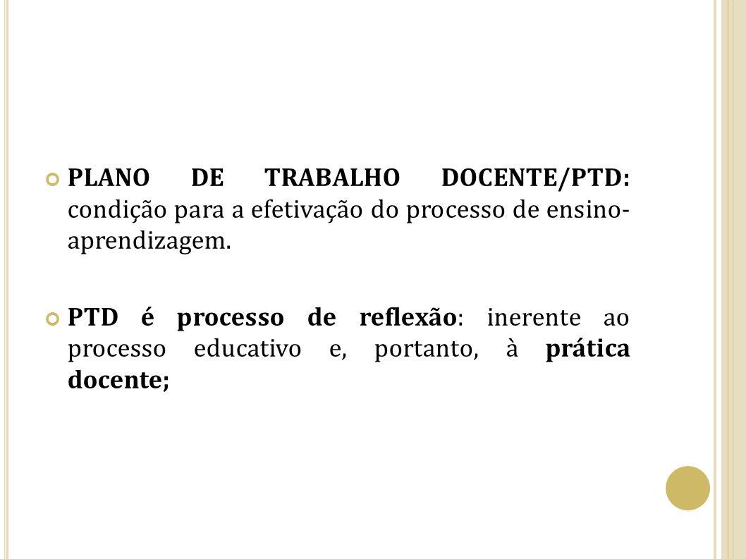PLANO DE TRABALHO DOCENTE/PTD: condição para a efetivação do processo de ensino- aprendizagem. PTD é processo de reflexão: inerente ao processo educat