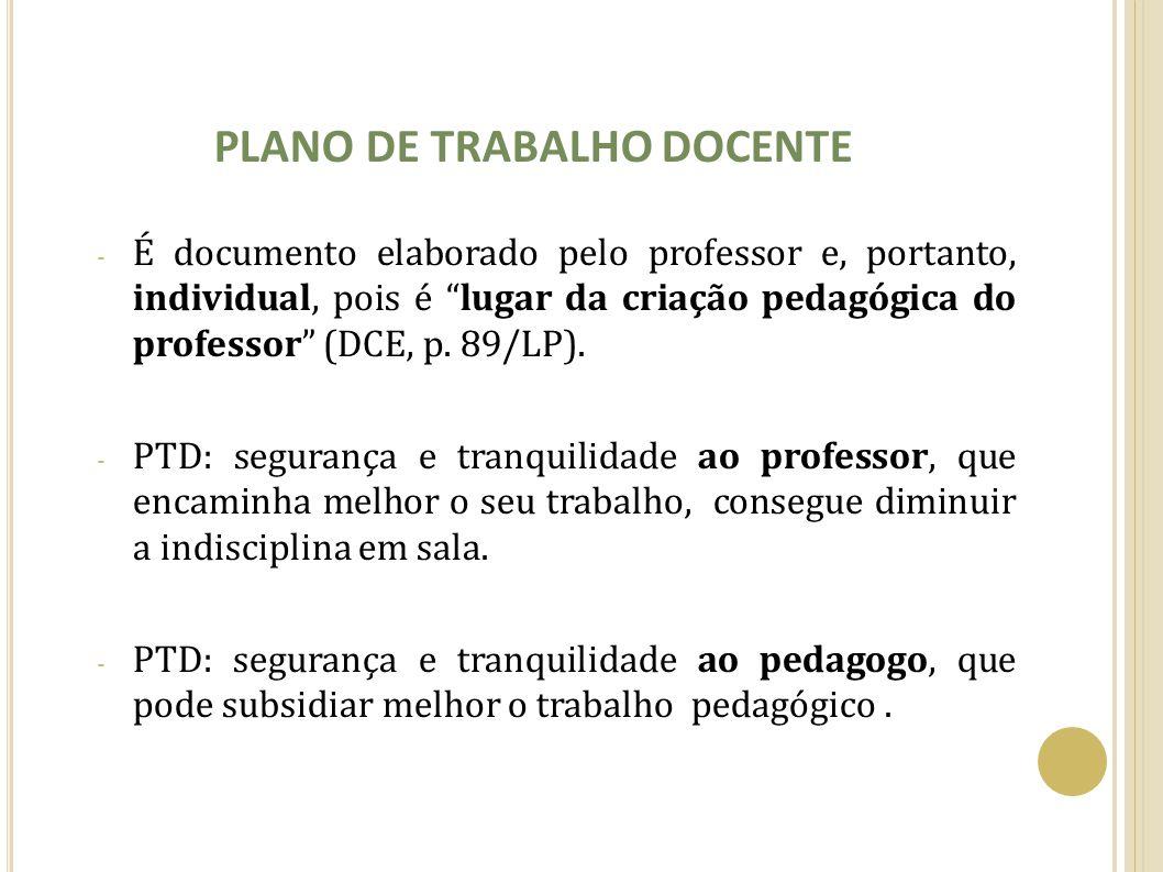 PLANO DE TRABALHO DOCENTE - É documento elaborado pelo professor e, portanto, individual, pois é lugar da criação pedagógica do professor (DCE, p. 89/