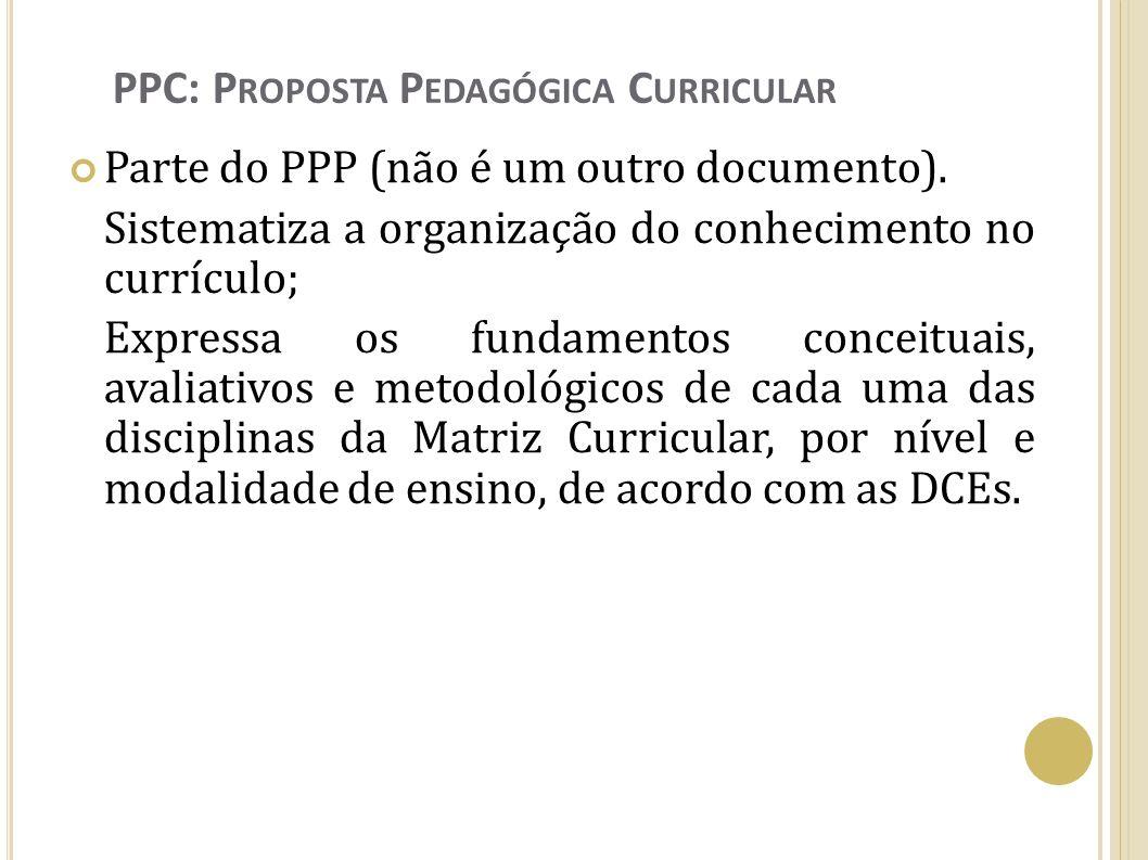PPC: P ROPOSTA P EDAGÓGICA C URRICULAR Parte do PPP (não é um outro documento). Sistematiza a organização do conhecimento no currículo; Expressa os fu