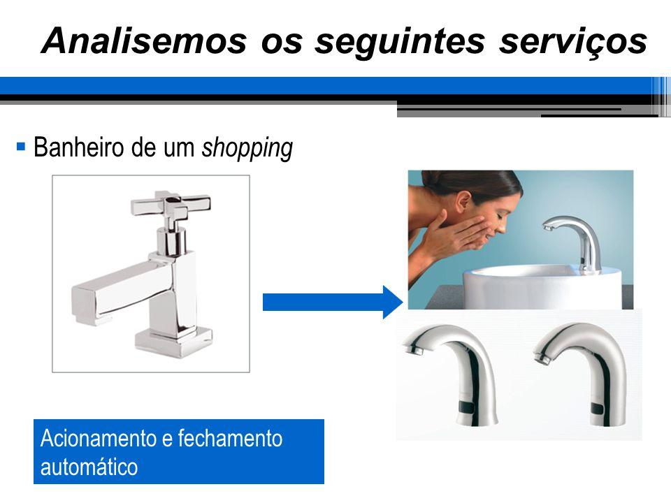 Analisemos os seguintes serviços Banheiro de um shopping Acionamento e fechamento automático
