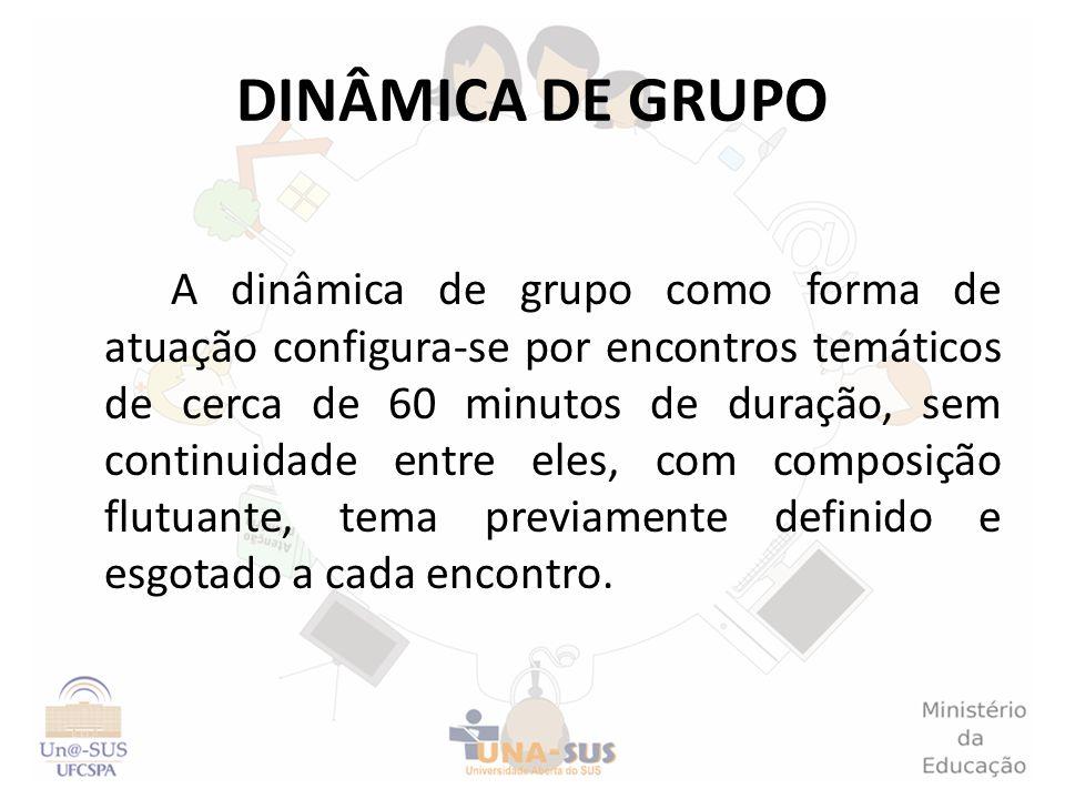 DINÂMICA DE GRUPO A dinâmica de grupo como forma de atuação configura-se por encontros temáticos de cerca de 60 minutos de duração, sem continuidade e