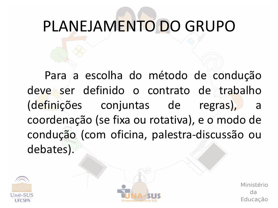 PLANEJAMENTO DO GRUPO Para a escolha do método de condução deve ser definido o contrato de trabalho (definições conjuntas de regras), a coordenação (s