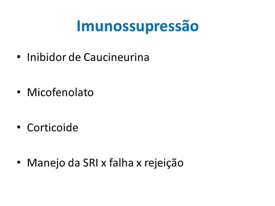 Imunossupressão Inibidor de Caucineurina Micofenolato Corticoide Manejo da SRI x falha x rejeição