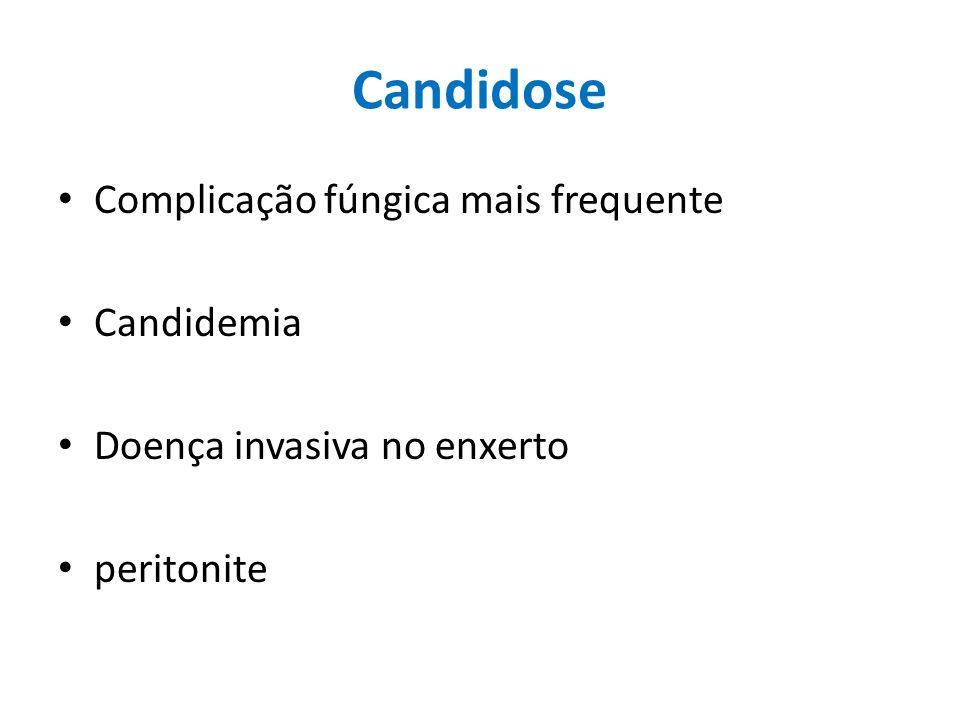 Candidose Complicação fúngica mais frequente Candidemia Doença invasiva no enxerto peritonite