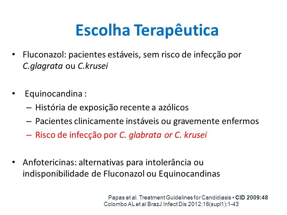Escolha Terapêutica Fluconazol: pacientes estáveis, sem risco de infecção por C.glagrata ou C.krusei Equinocandina : – História de exposição recente a