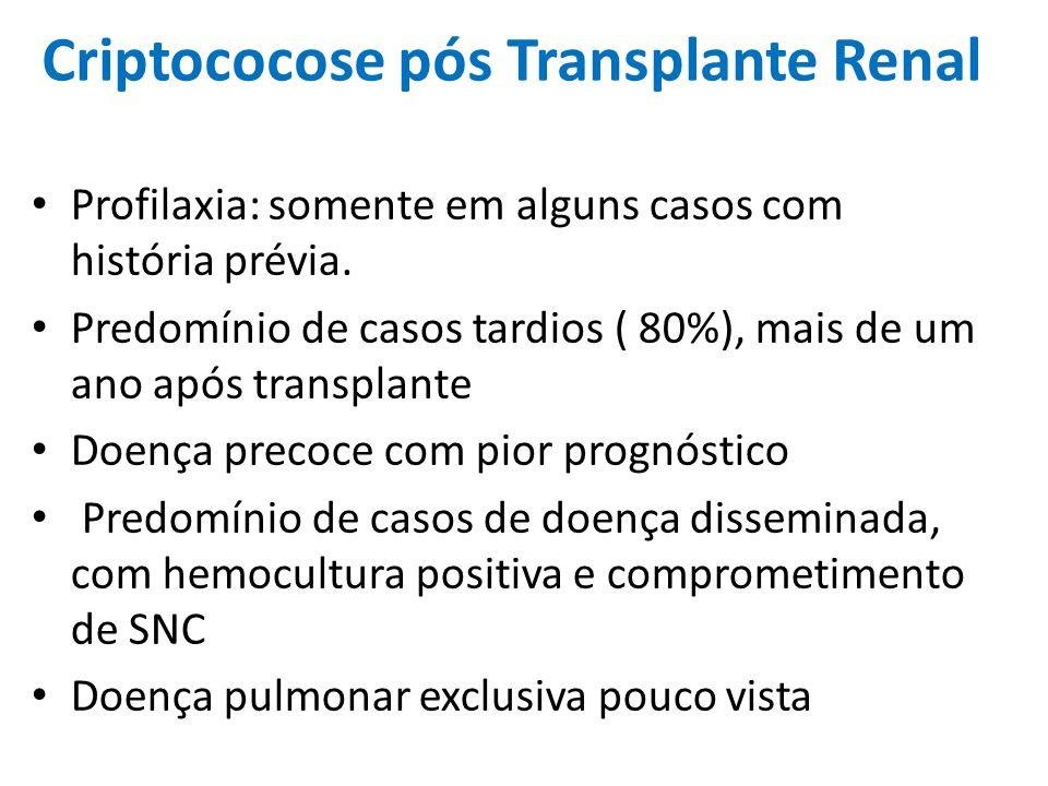 Criptococose pós Transplante Renal Profilaxia: somente em alguns casos com história prévia. Predomínio de casos tardios ( 80%), mais de um ano após tr