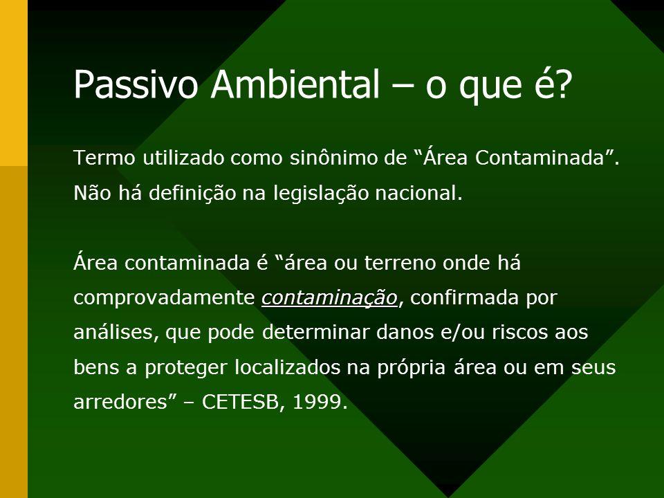 Passivo Ambiental – o que é? Termo utilizado como sinônimo de Área Contaminada. Não há definição na legislação nacional. Área contaminada é área ou te