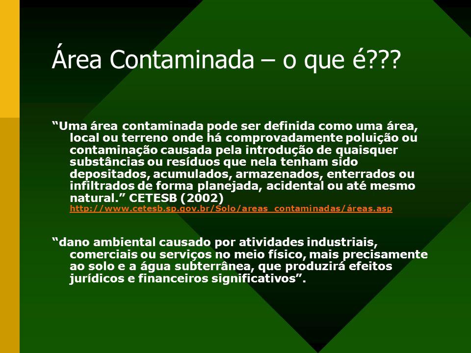 Área Contaminada – o que é??? Uma área contaminada pode ser definida como uma área, local ou terreno onde há comprovadamente poluição ou contaminação