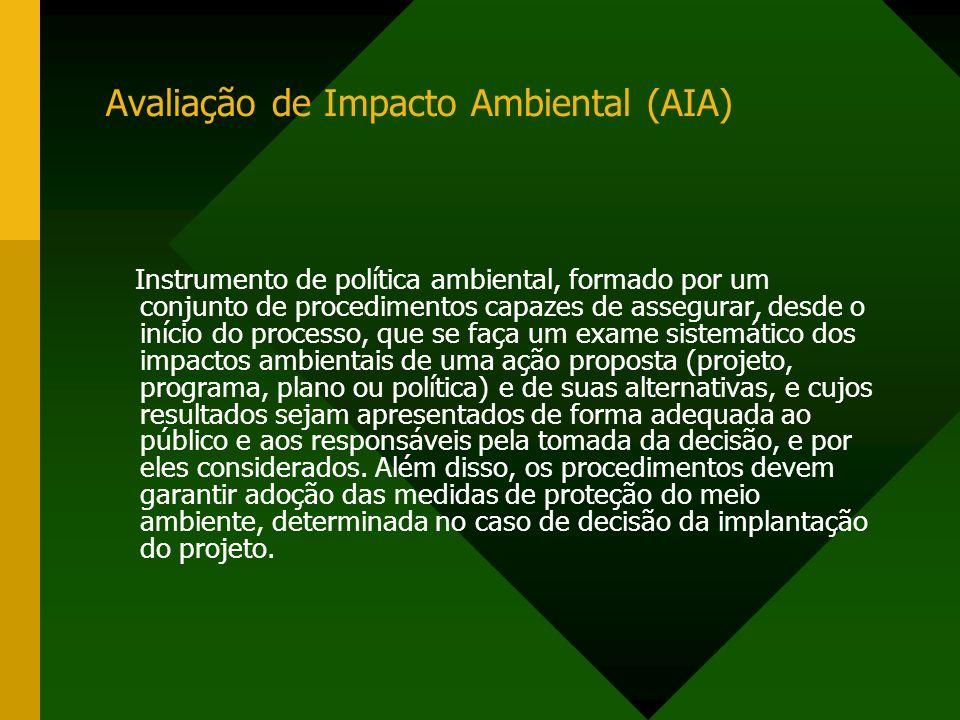 Avaliação de Impacto Ambiental (AIA) Instrumento de política ambiental, formado por um conjunto de procedimentos capazes de assegurar, desde o início