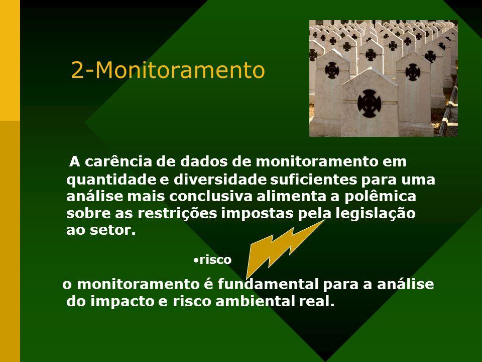 2-Monitoramento A carência de dados de monitoramento em quantidade e diversidade suficientes para uma análise mais conclusiva alimenta a polêmica sobr
