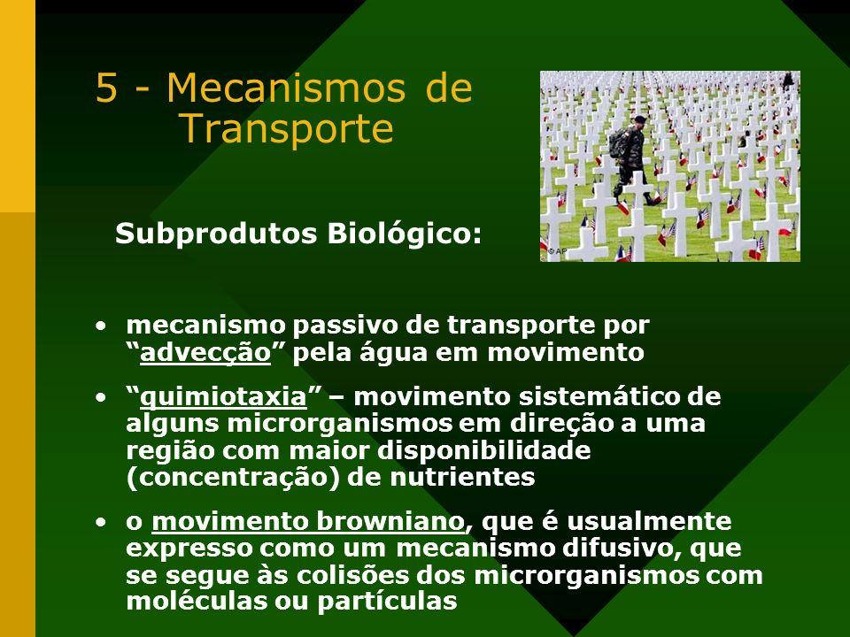 5 - Mecanismos de Transporte Subprodutos Biológico: mecanismo passivo de transporte poradvecção pela água em movimento quimiotaxia – movimento sistemá