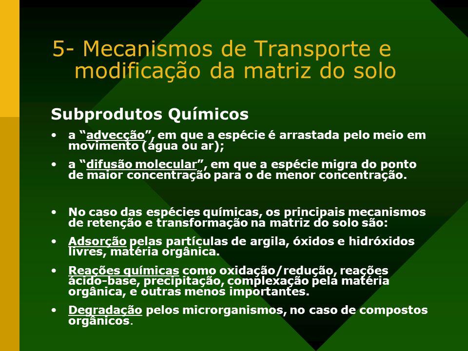 5- Mecanismos de Transporte e modificação da matriz do solo Subprodutos Químicos a advecção, em que a espécie é arrastada pelo meio em movimento (água