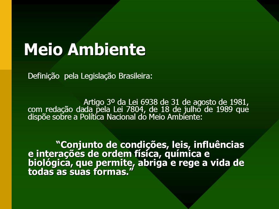 Meio Ambiente Definição pela Legislação Brasileira: Artigo 3º da Lei 6938 de 31 de agosto de 1981, com redação dada pela Lei 7804, de 18 de julho de 1