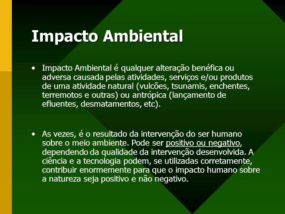 Impacto Ambiental Impacto Ambiental é qualquer alteração benéfica ou adversa causada pelas atividades, serviços e/ou produtos de uma atividade natural