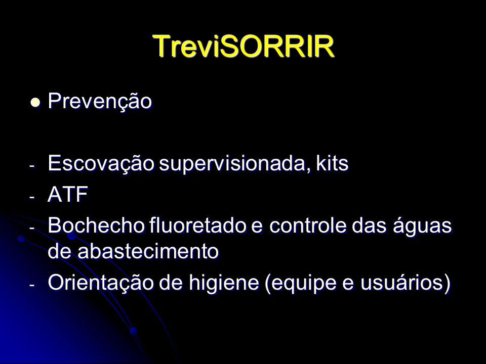 TreviSORRIR Prevenção Prevenção - Escovação supervisionada, kits - ATF - Bochecho fluoretado e controle das águas de abastecimento - Orientação de hig
