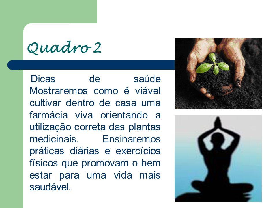 Quadro 3 Vamos ensinar receitas rápidas, que tragam dicas de uma alimentação saudável e saborosa, com alimentos orgânicos, sementes germinadas, sucos e sobremesas leves.