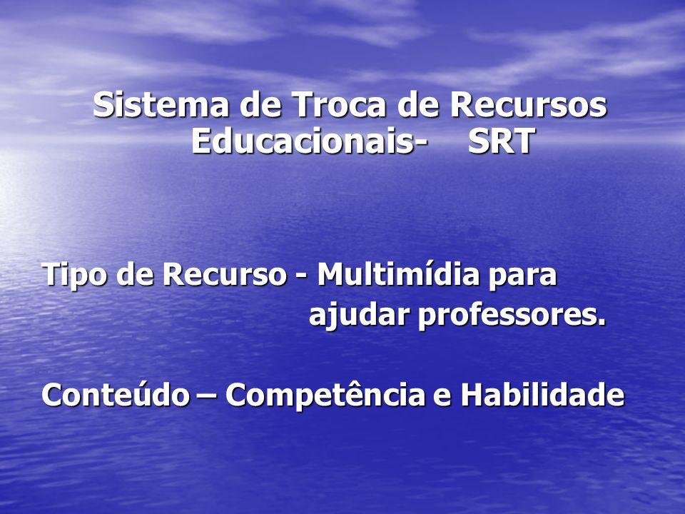 Sistema de Troca de Recursos Educacionais- SRT Tipo de Recurso - Multimídia para ajudar professores. ajudar professores. Conteúdo – Competência e Habi