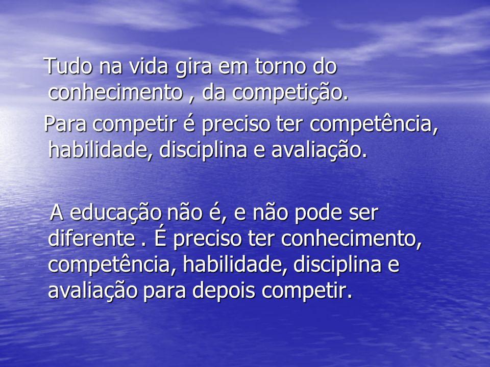 Tudo na vida gira em torno do conhecimento, da competição. Tudo na vida gira em torno do conhecimento, da competição. Para competir é preciso ter comp