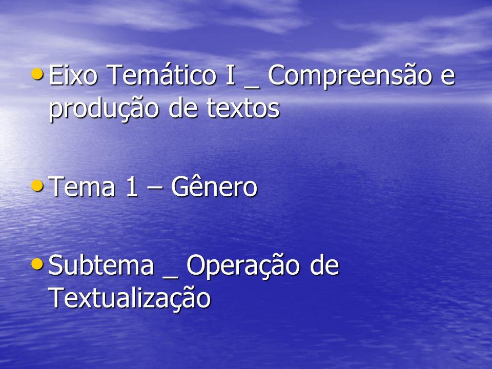 Eixo Temático I _ Compreensão e produção de textos Eixo Temático I _ Compreensão e produção de textos Tema 1 – Gênero Tema 1 – Gênero Subtema _ Operaç