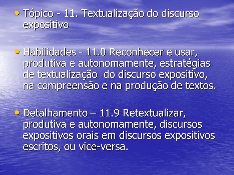 Tópico - 11. Textualização do discurso expositivo Tópico - 11. Textualização do discurso expositivo Habilidades - 11.0 Reconhecer e usar, produtiva e