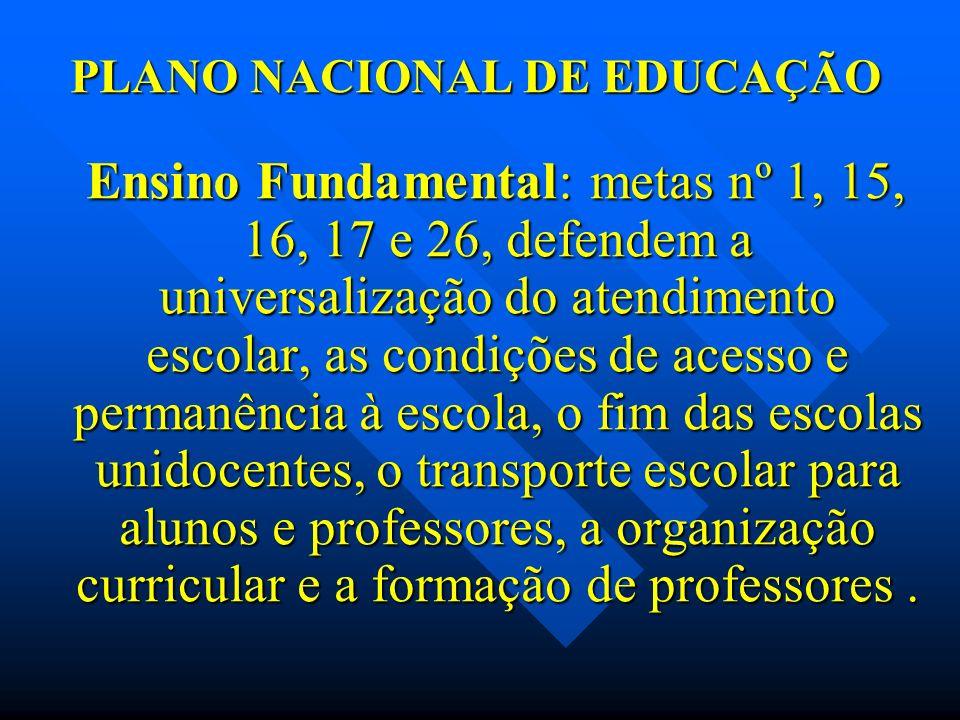 PLANO NACIONAL DE EDUCAÇÃO Ensino Fundamental: metas nº 1, 15, 16, 17 e 26, defendem a universalização do atendimento escolar, as condições de acesso