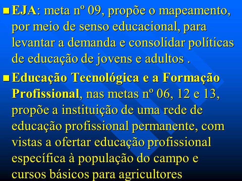 EJA: meta nº 09, propõe o mapeamento, por meio de senso educacional, para levantar a demanda e consolidar políticas de educação de jovens e adultos. E