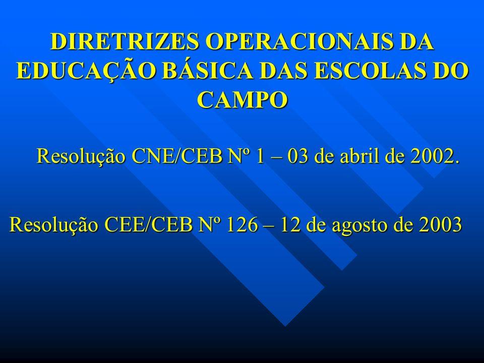 DIRETRIZES OPERACIONAIS DA EDUCAÇÃO BÁSICA DAS ESCOLAS DO CAMPO Resolução CNE/CEB Nº 1 – 03 de abril de 2002. Resolução CEE/CEB Nº 126 – 12 de agosto