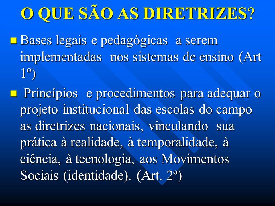 O QUE SÃO AS DIRETRIZES? Bases legais e pedagógicas a serem implementadas nos sistemas de ensino (Art 1º) Bases legais e pedagógicas a serem implement