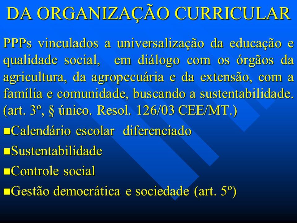 DA ORGANIZAÇÃO CURRICULAR PPPs vinculados a universalização da educação e qualidade social, em diálogo com os órgãos da agricultura, da agropecuária e