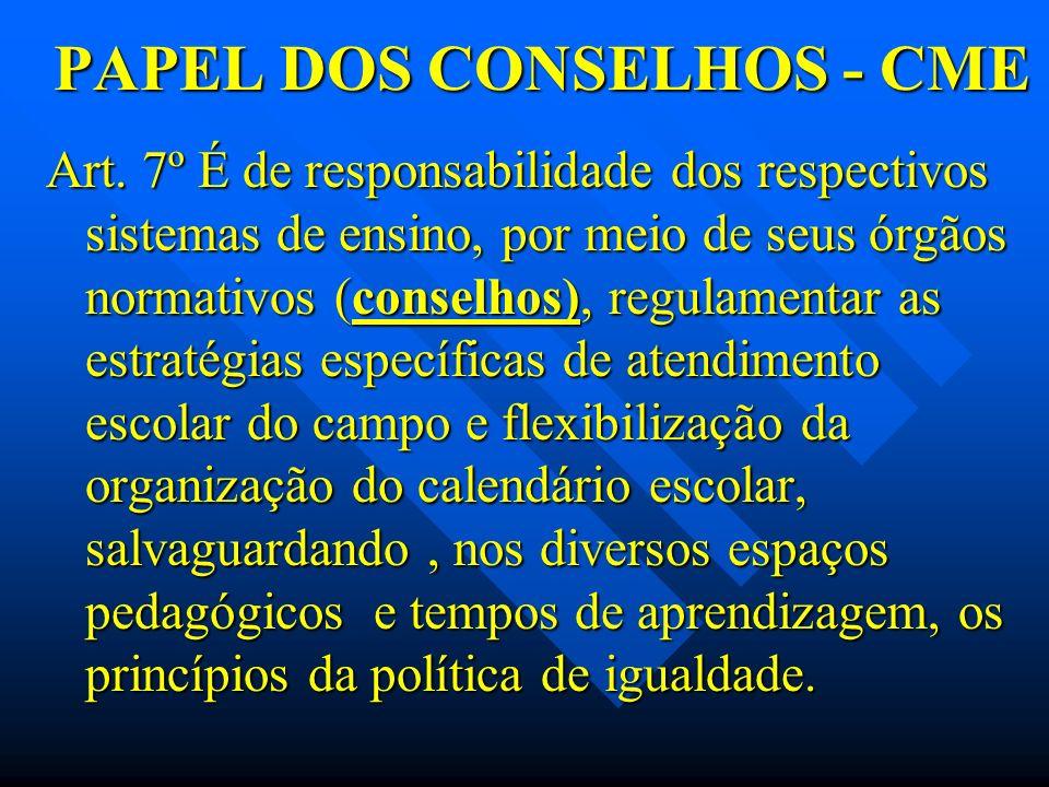 PAPEL DOS CONSELHOS - CME Art. 7º É de responsabilidade dos respectivos sistemas de ensino, por meio de seus órgãos normativos (conselhos), regulament