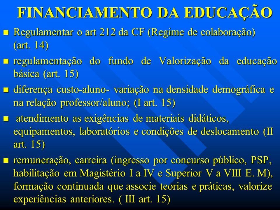 FINANCIAMENTO DA EDUCAÇÃO Regulamentar o art 212 da CF (Regime de colaboração) (art. 14) Regulamentar o art 212 da CF (Regime de colaboração) (art. 14