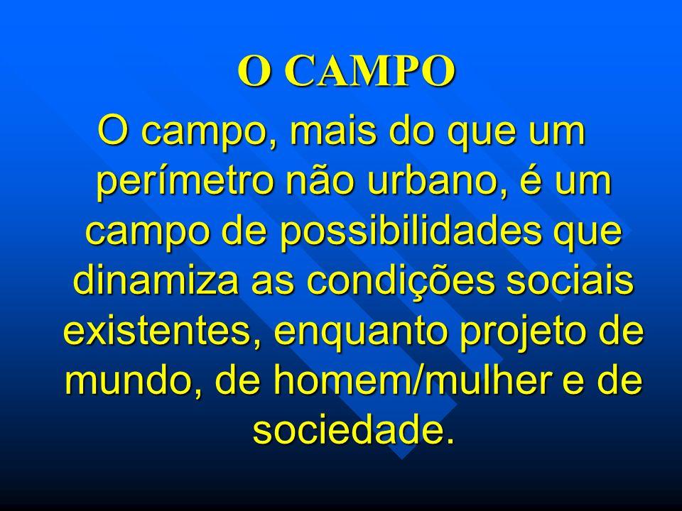 O CAMPO O campo, mais do que um perímetro não urbano, é um campo de possibilidades que dinamiza as condições sociais existentes, enquanto projeto de m