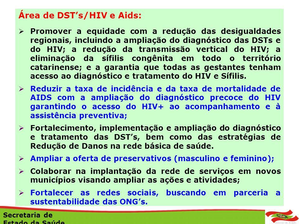 Área de DSTs/HIV e Aids: Promover a equidade com a redução das desigualdades regionais, incluindo a ampliação do diagnóstico das DSTs e do HIV; a redu