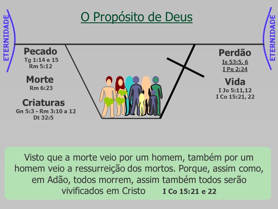 ETERNIDADE O Propósito de Deus Criaturas Gn 5:3 - Rm 3:10 a 12 Dt 32:5 Pecado Tg 1:14 e 15 Rm 5:12 Morte Rm 6:23 Mas Deus prova o seu próprio amor par