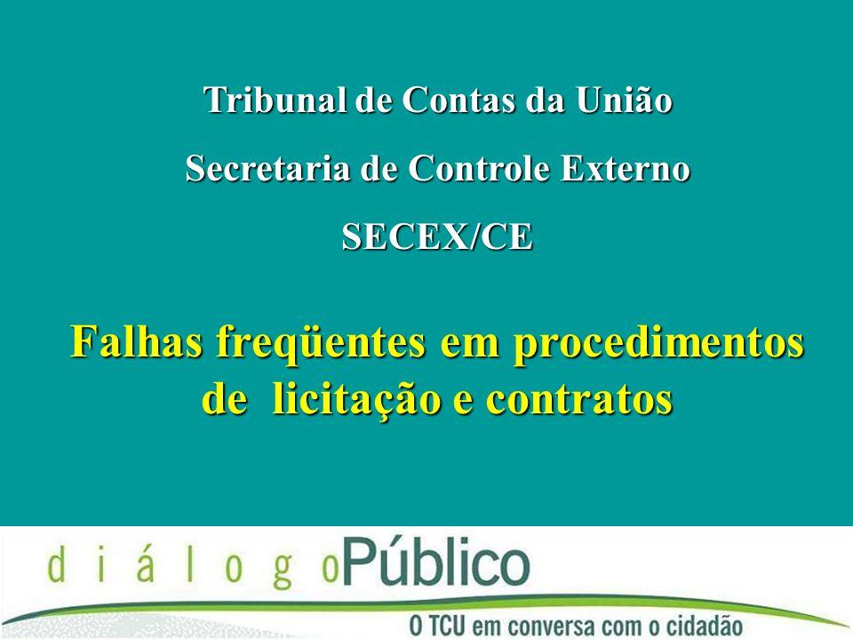 Falhas freqüentes em procedimentos de licitação e contratos Tribunal de Contas da União Secretaria de Controle Externo SECEX/CE