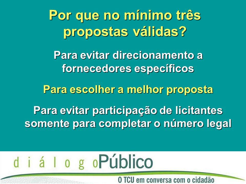 Por que no mínimo três propostas válidas? Para evitar direcionamento a fornecedores específicos Para escolher a melhor proposta Para evitar participaç