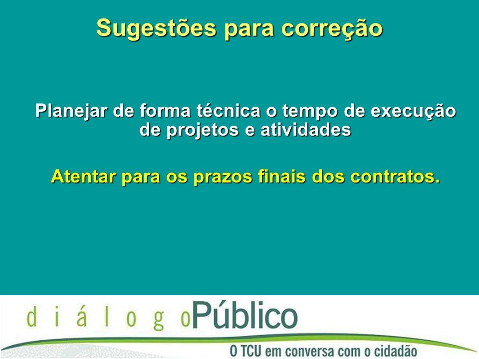 Sugestões para correção Planejar de forma técnica o tempo de execução de projetos e atividades Atentar para os prazos finais dos contratos.