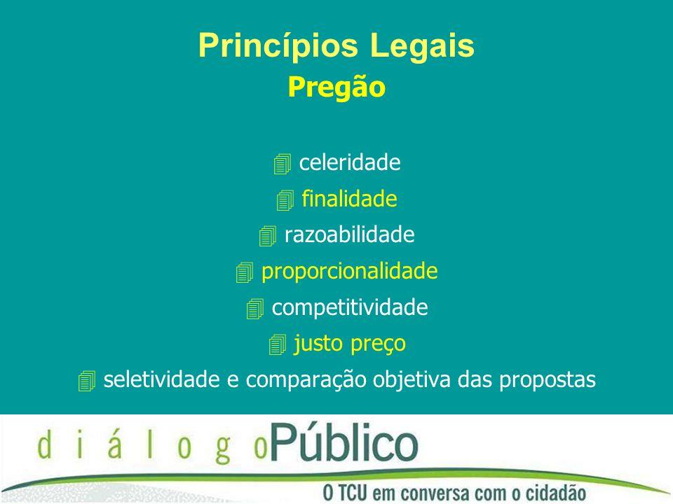 Princípios Legais Pregão celeridade finalidade razoabilidade proporcionalidade competitividade justo preço seletividade e comparação objetiva das prop