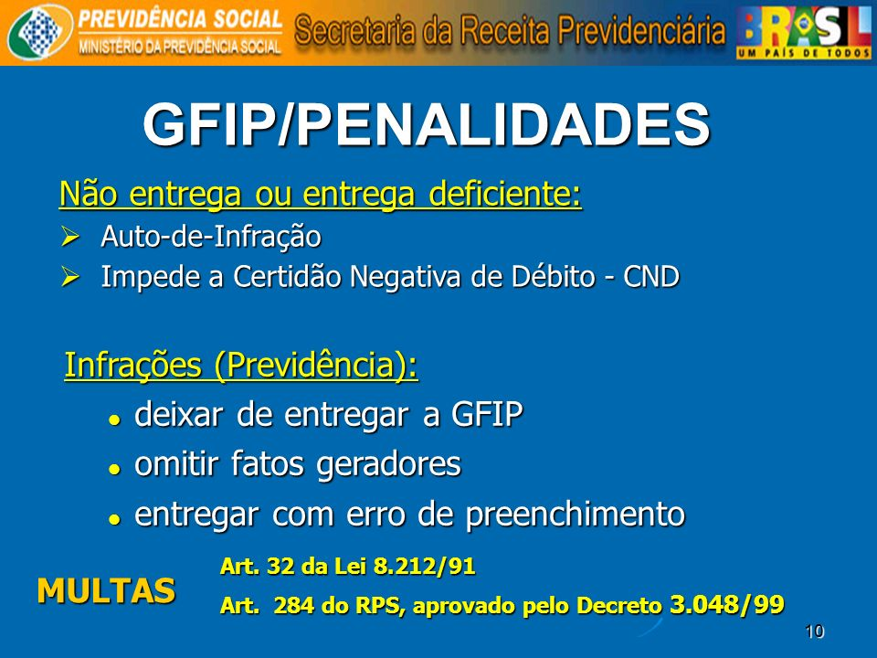 10 GFIP/PENALIDADES Infrações (Previdência): deixar de entregar a GFIP deixar de entregar a GFIP omitir fatos geradores omitir fatos geradores entrega