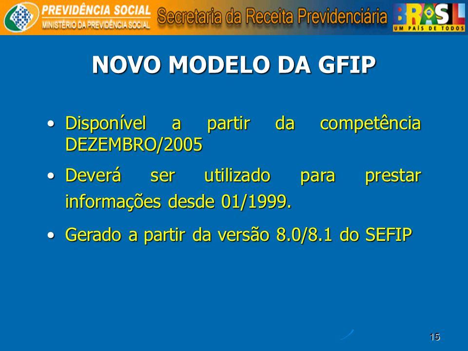 15 Disponível a partir da competência DEZEMBRO/2005Disponível a partir da competência DEZEMBRO/2005 Deverá ser utilizado para prestar informações desd