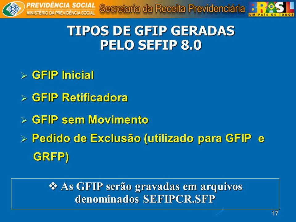 17 GFIP Inicial GFIP Inicial GFIP Retificadora GFIP Retificadora GFIP sem Movimento GFIP sem Movimento Pedido de Exclusão (utilizado para GFIP e Pedid