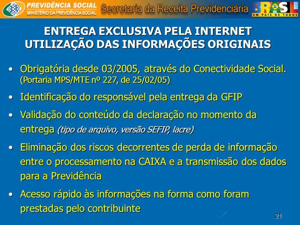 21 ENTREGA EXCLUSIVA PELA INTERNET UTILIZAÇÃO DAS INFORMAÇÕES ORIGINAIS Obrigatória desde 03/2005, através do Conectividade Social. (Portaria MPS/MTE