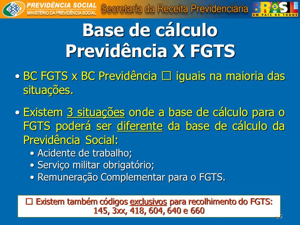 25 Base de cálculo Previdência X FGTS BC FGTS x BC Previdência iguais na maioria das situações.BC FGTS x BC Previdência iguais na maioria das situaçõe
