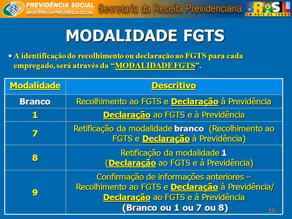 26 MODALIDADE FGTS Confirmação de informações anteriores – Recolhimento ao FGTS e Declaração à Previdência/ Recolhimento ao FGTS e Declaração à Previd