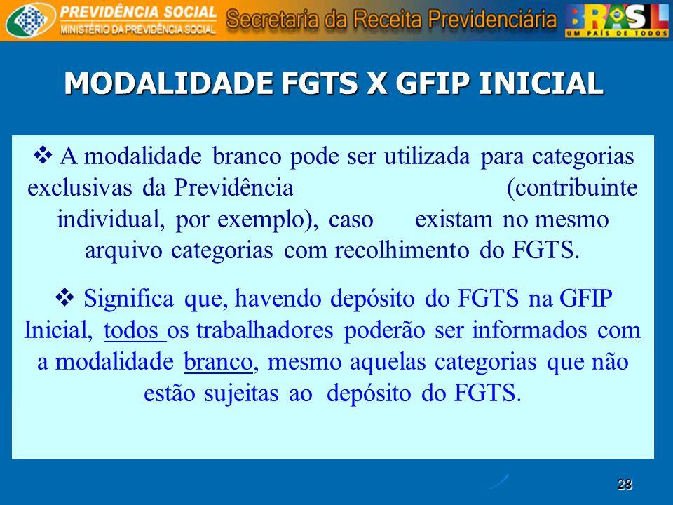 28 MODALIDADE FGTS X GFIP INICIAL A modalidade branco pode ser utilizada para categorias exclusivas da Previdência (contribuinte individual, por exemp