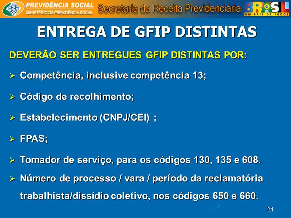 31 ENTREGA DE GFIP DISTINTAS DEVERÃO SER ENTREGUES GFIP DISTINTAS POR: Competência, inclusive competência 13; Competência, inclusive competência 13; C